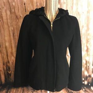 J. Crew black coat w fur hood No size listed EUC